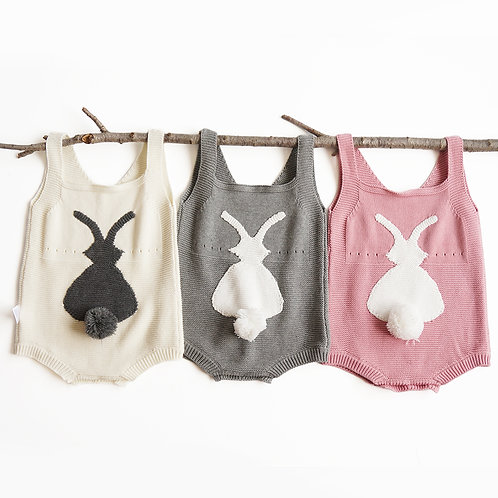 Knitted Sleeveless Rabbit Design with Back Rabbit Tail Romper/Bodysuits