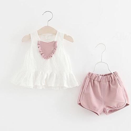 Lovely Heart Sleeveless White Top with Pink Bottom for Baby Girl