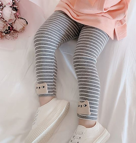 Grey Strip with Kitten Embroidery Legging