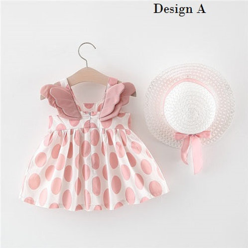 [Clearance Sale] Ruffle Sleeve Angel Wing Back Design Dress with Hat