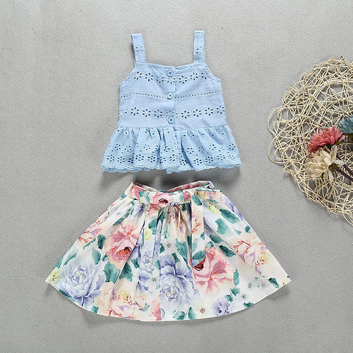 Baby Blue Sleeveless Lace Top with Floral Dress