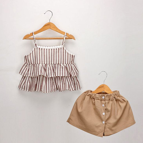 2-piece Strip Design Sleeveless Top with Khaki Pant (NCS 021)
