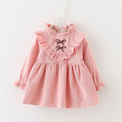Baby/Toddler Fashionable Solid Long Sleeve Dress