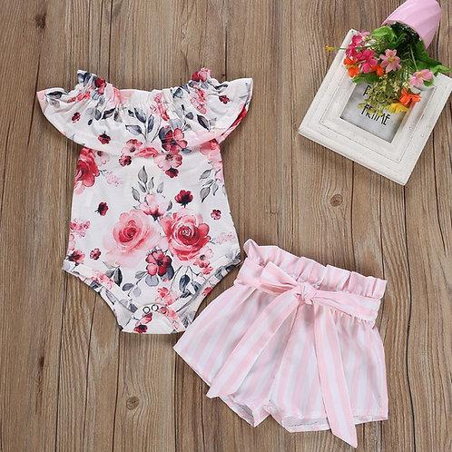 Rose Print Off Shoulder Romper with Short Pink Short Pant