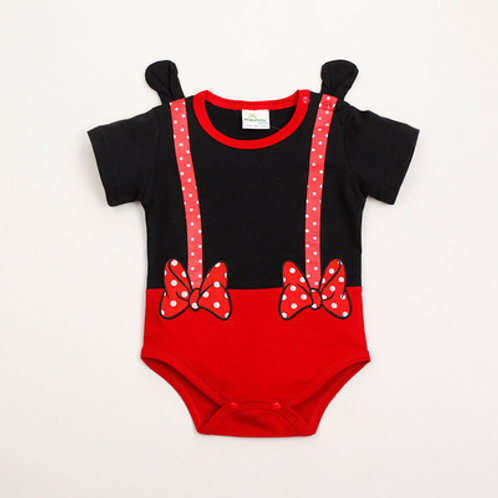 Minnie Hand Design Suspender Like Baby Romper/Bodysuits