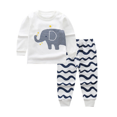 Grey Elephant Print Long Sleeve Sleepsuits