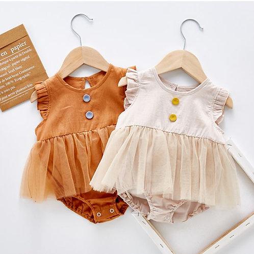 Vintage Ruffle Sleeve Gauze Bottom Romper for Baby Girl