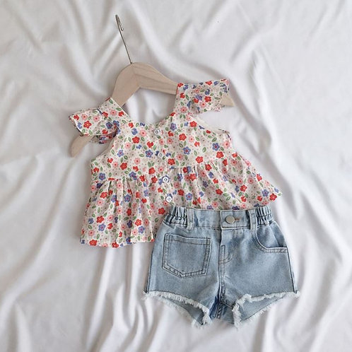 Floral Print Ruffle Sleeve Top for Baby Girl / Little Girl