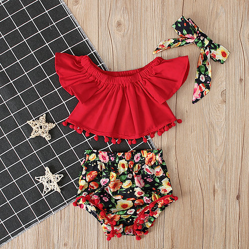 3-pcs Red Crop Top with Floral Short Pant & Headband