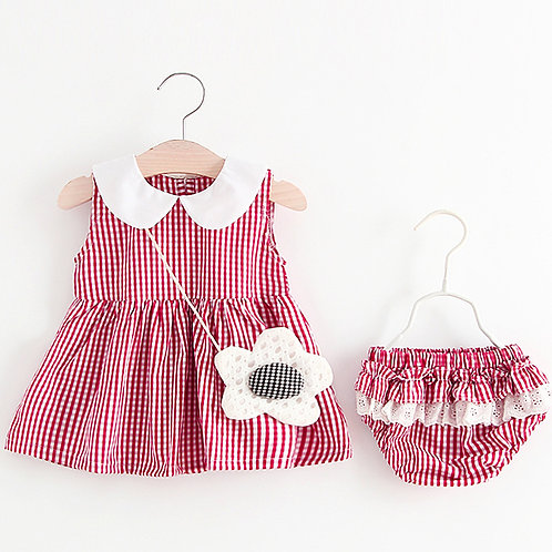 Red Dress White Round Collar Dress with Bottom Pant (OUT OF STOCK)