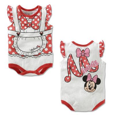 Minnie Ruffle Sleeve Design Sleeveless Romper/Bodysuits