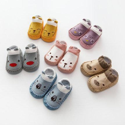 Cute Animal Cartoon Pre-walker Non-Slip Socks with Rubber Sole