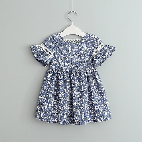 Blue Floral Print Ruffle Sleeve Dress for Little Girl
