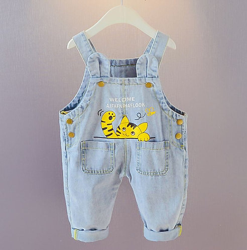 Kitten Print Jeans Suspender Baby Girl/Boy