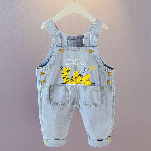 Kitten Print Jeans Suspender Baby Girl/Boy