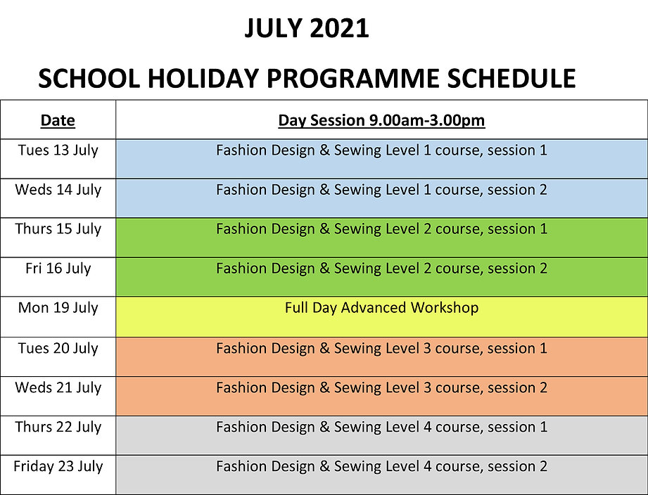 July 2021 School Holiday Programme Sched