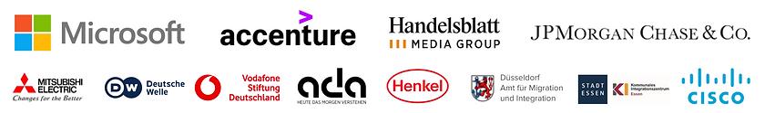 Supporter logos for the Digital Career Programm of ReDI School NRW