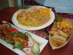 Pad Thai, Spring Rolls, Crab Cheese,