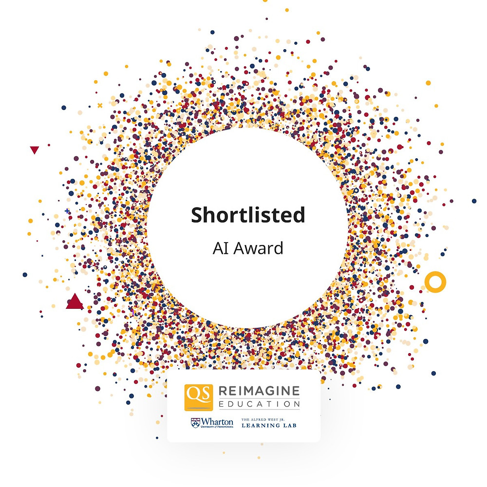 Badge for shortlisted status for AI Award at Reimagine Education 2020.