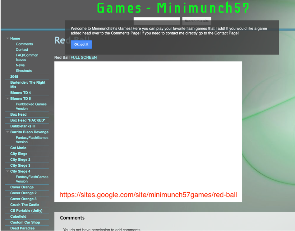 Google Site with games that only a true AI web filter can detect.