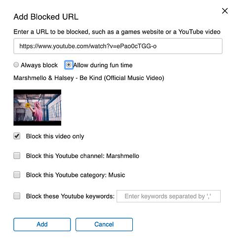 Deledao Family - Blocking YouTube Option