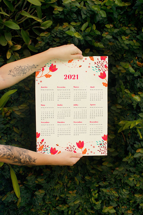 Calendário Leveza / A3 / por Amanda Pierantoni