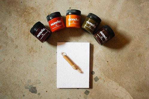 Kit tintas naturais + Bloco A5 + Pincel
