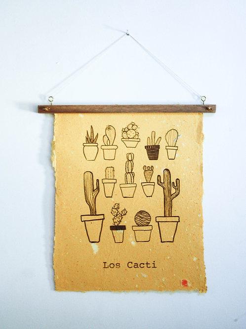 Poster Los Cacti / Amarelo / tinta orgânica