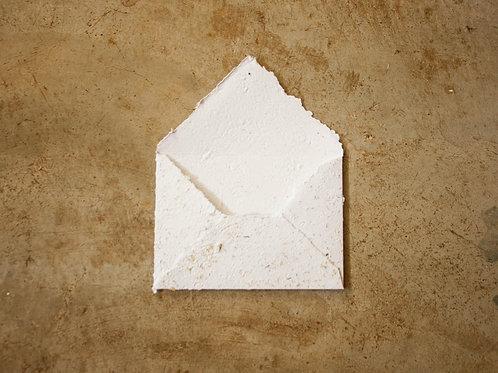 Envelope A6 I Branco + Camomila I Bordas rústicas