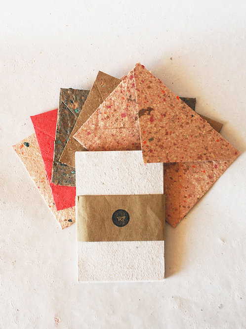 Kit 5 envelopes coloridos + 10 Cartões