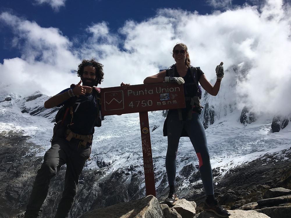Au sommet de la punta Union - trek santa cruz