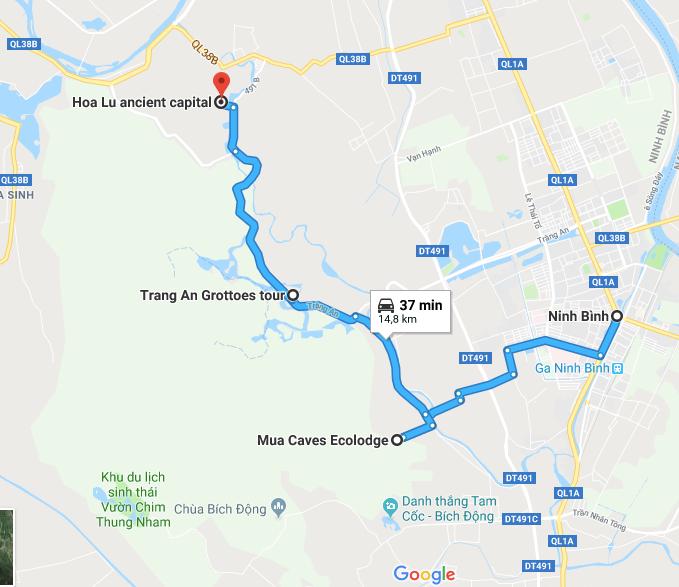 carte des environs de Ninh Binh