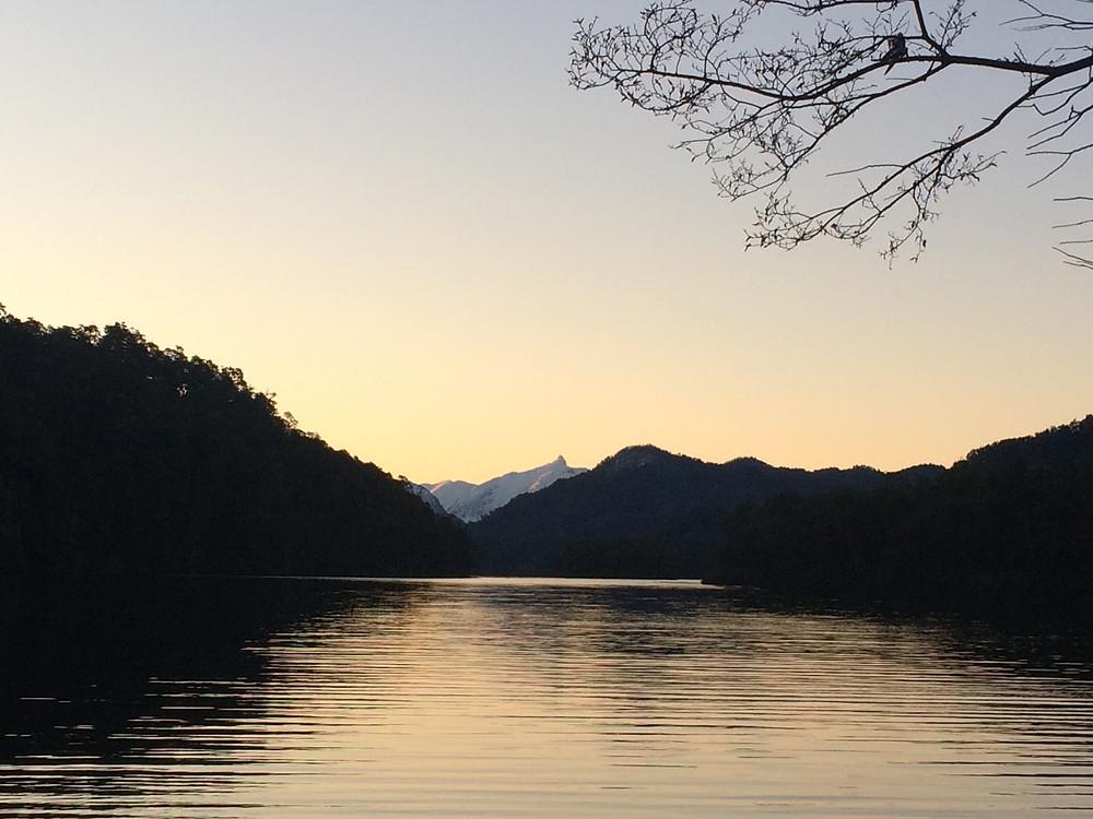 Route des 7 lacs : coucher de soleil