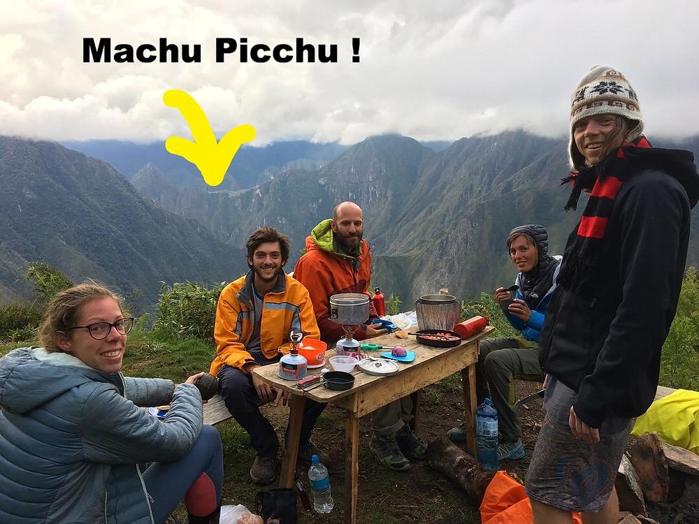 Diner avec vue sur le Machu Picchu - salkantay trek jour 3