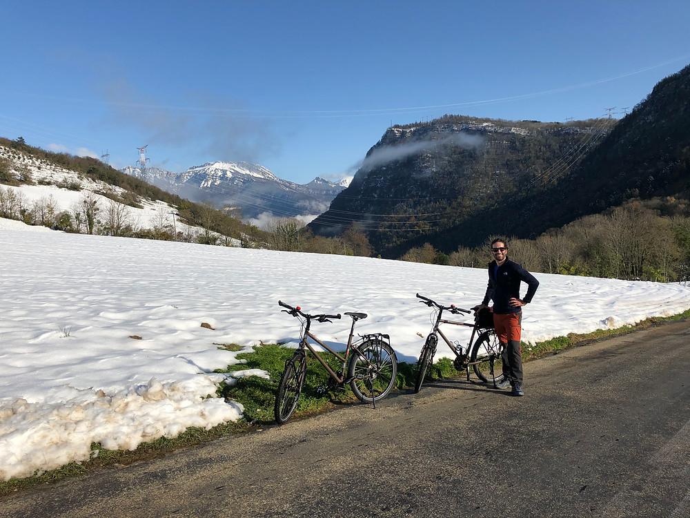 Sortie vélo dans grenoble, vue sur les montagnes