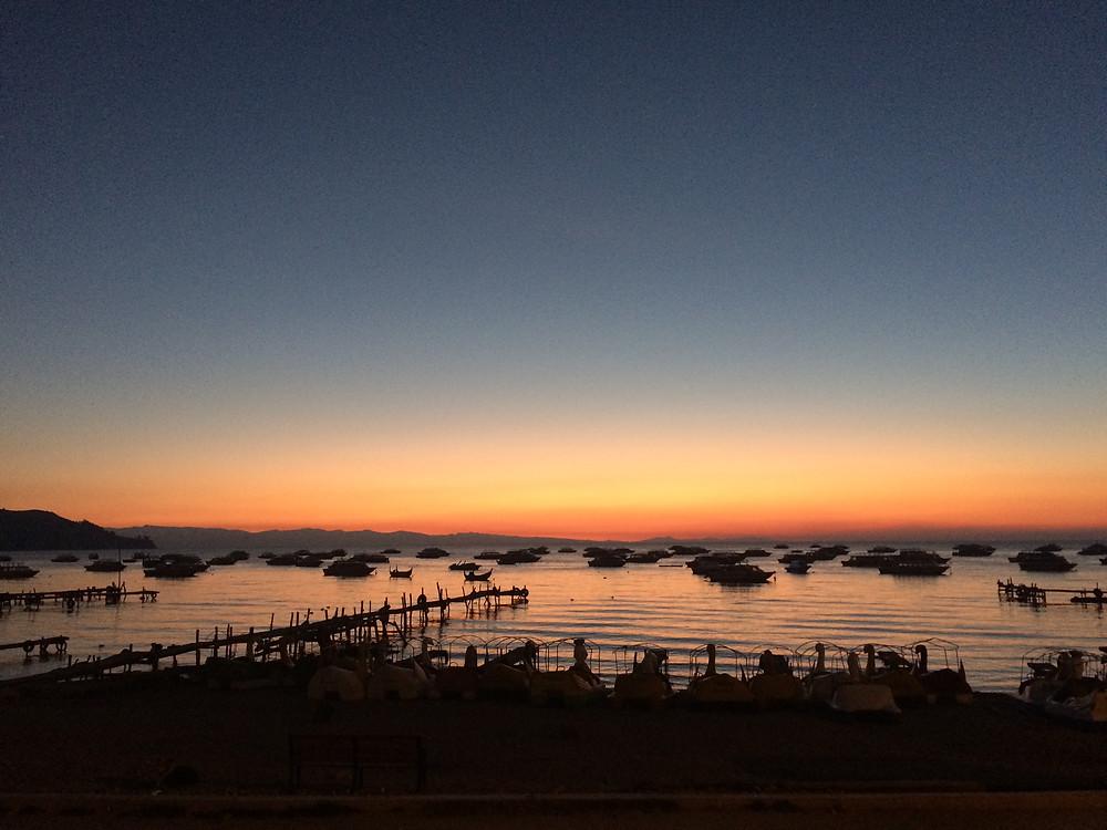 coucher de soleil depuis copacabana