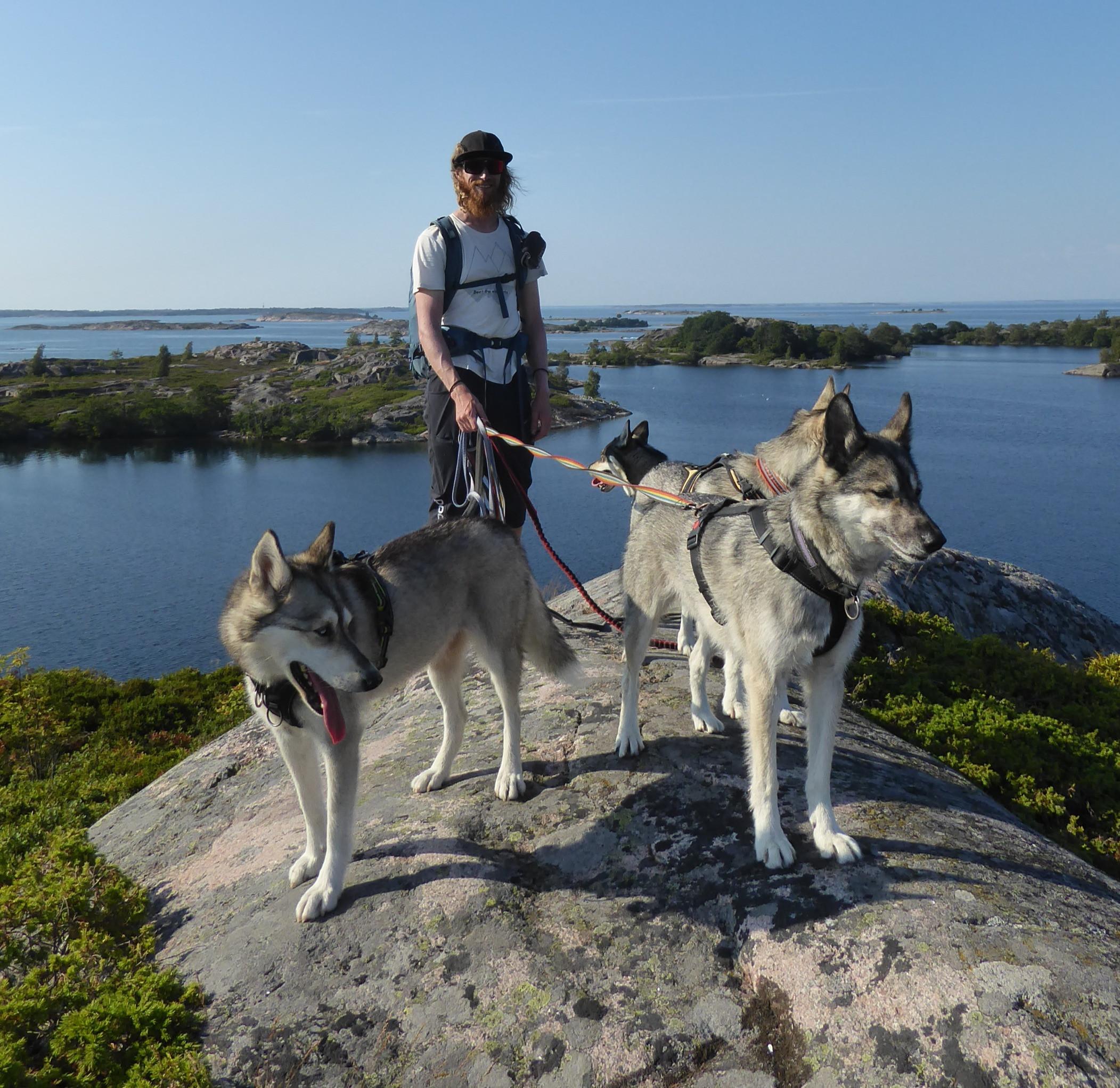 Hiking with huskies