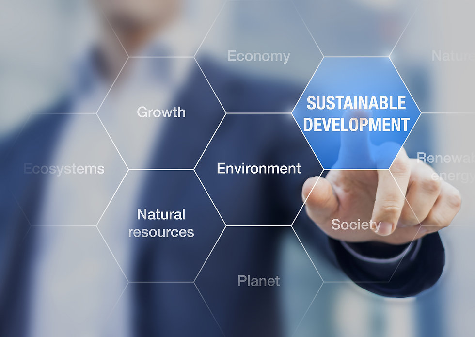 Business man pointing at sustainable development on a screen