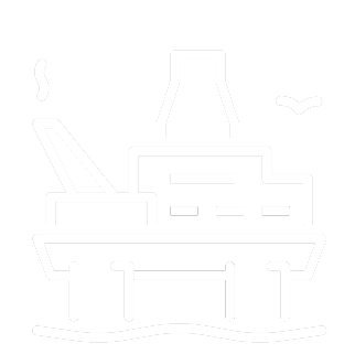 Offshore construction industry icon showing an oil plaform