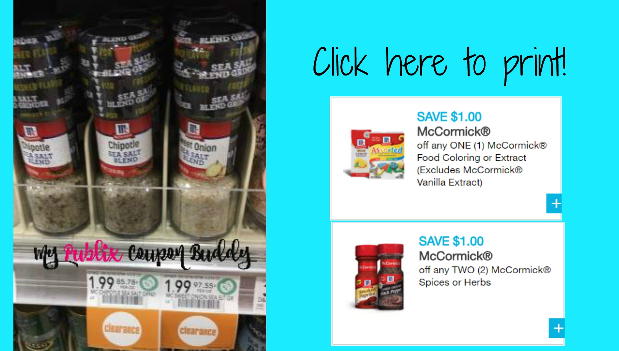 Super rare McCormick Spice and Food Coloring coupons. Clearance ...
