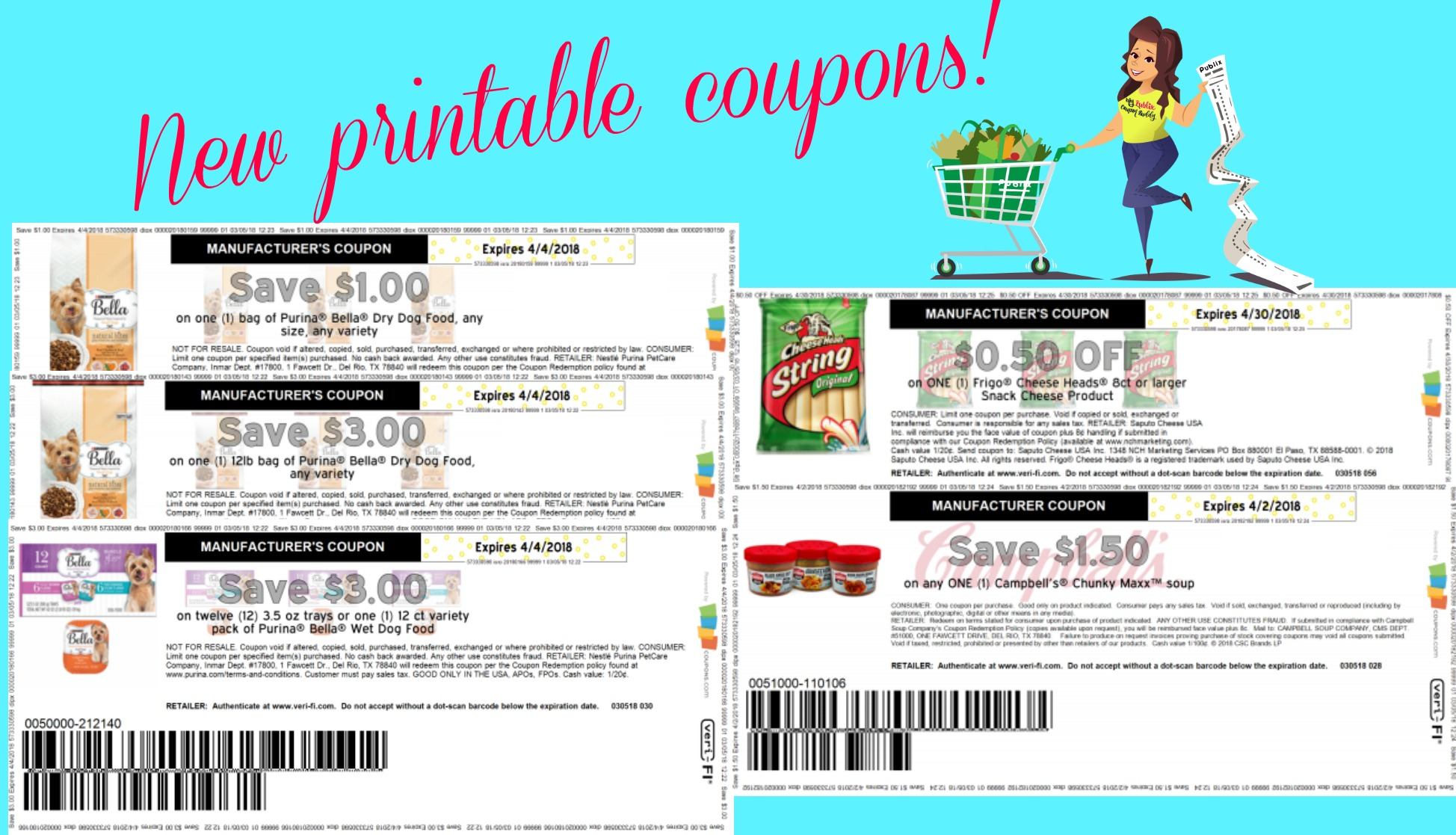 New printable coupons for Bella Dog Food Frigo Cheese and Campbells