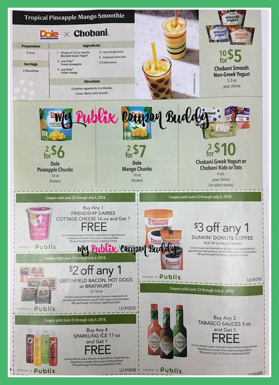 Publix Green Flyer Full Match Ups and Ad Scan 6/23 - 7/6
