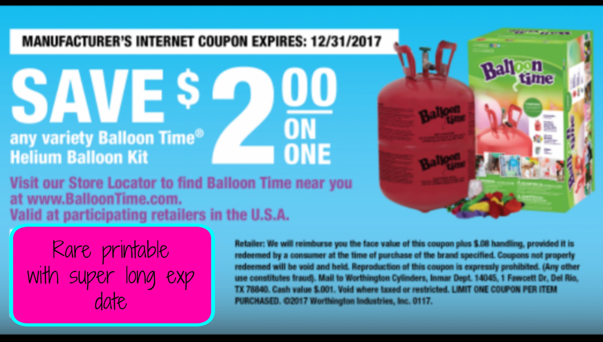 Rare Balloon Time printable coupon Doesnt expire till 12 2017