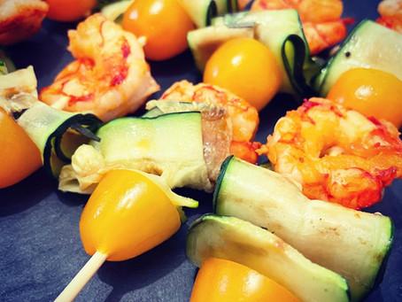 Spiedini di Gamberi e Zucchine Grigliate