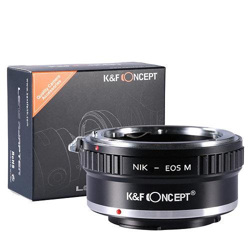 Adaptador manual K&F Concept NIK-EOS M, lentes Nikon F en cámaras Canon EF EOS M