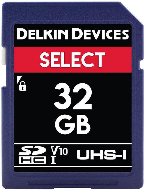 Memoria SD Delkin Devices 32 GB SELECT UHS-I SDHC, V10, U1, Class 10, 100 MB/s