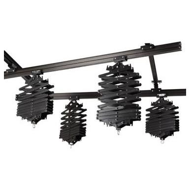 Sistema rieles de techo de 4 pantografos de 10kg, y 4 rieles de 3 metros