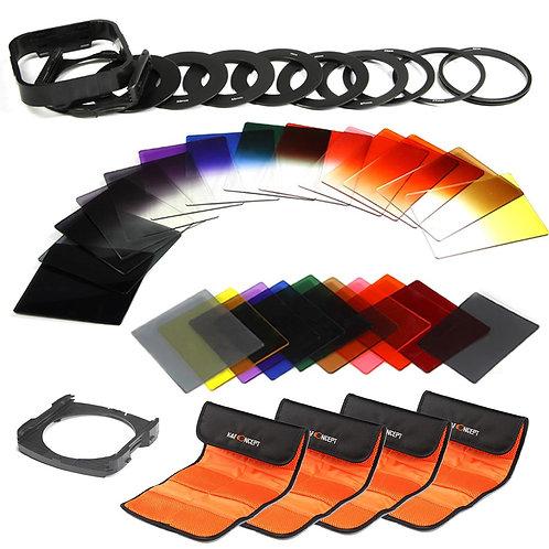 Kit 40-en-1 K&F Concept de filtros cuadrados ND, graduados y de colores