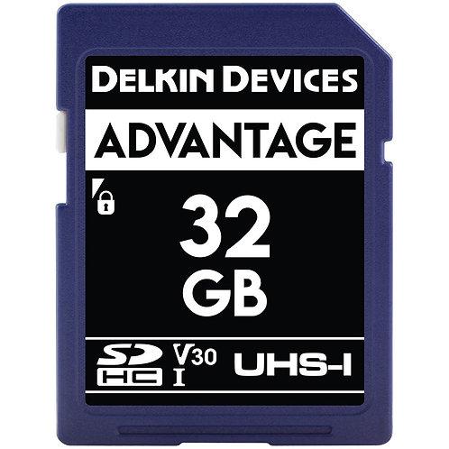 Memoria SD Delkin Devices 32 GB ADVANTAGE UHS-I SDHC, V30, U3, Class 10, 90 MB/s