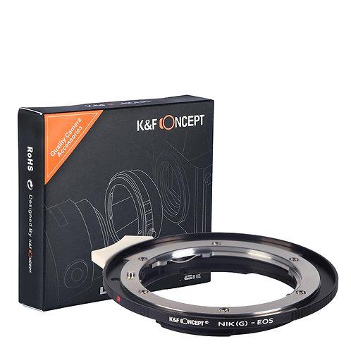 Adaptador manual K&F Concept NIK(G)-EOS, lentes Nikon F (G) en cámaras Canon EOS